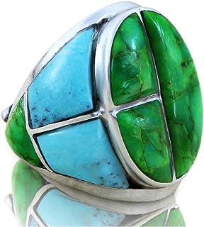 خاتم صلب من الفضة الإسترلينية 925 مع أحجار تركواز خضراء للرجال مقاسات 8 إلى 15
