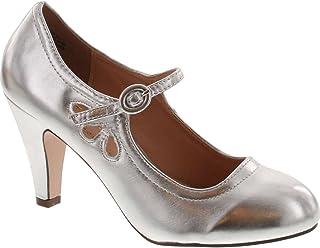 565898ff3322b Amazon.com: Mary Jane - Silver / Pumps / Shoes: Clothing, Shoes ...