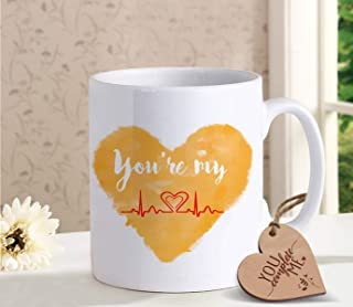 TIED RIBBONS Coffee mug for Girlfriend Boyfriend with Wooden Tag - Romantic Gift for Him or Her - Ideal Birthday, Anniversary Gift for Wife Husband