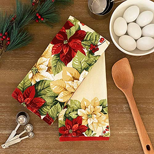 Elrene Home Fashions Red and White Poinsettia Christmas Holiday Kitchen Dish Hand Towels, Set of 2, 16'x26', Multi