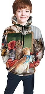 Cyloten Kid's Sweatshirt Cats Kittens World is Cute Pullover Hoody Teen's Breathable Long Sleeve Sports Hoodies