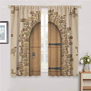 GUUVOR Rustic Blackout Curtain Set Wine Cellar Entrance Stone Arch Ancient Architecture European Building Kindergarten Shading Insulation W72 x L72 Inch Sand Brown Pale Brown