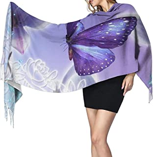Beauty Purple Butterfly Print Bufanda de cachemira para mujer Casual Warm Scarf Wrap Chal grande