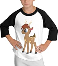 LKK Youth Boy's Deer 3/4 Sleeve Raglan T-shirt Black