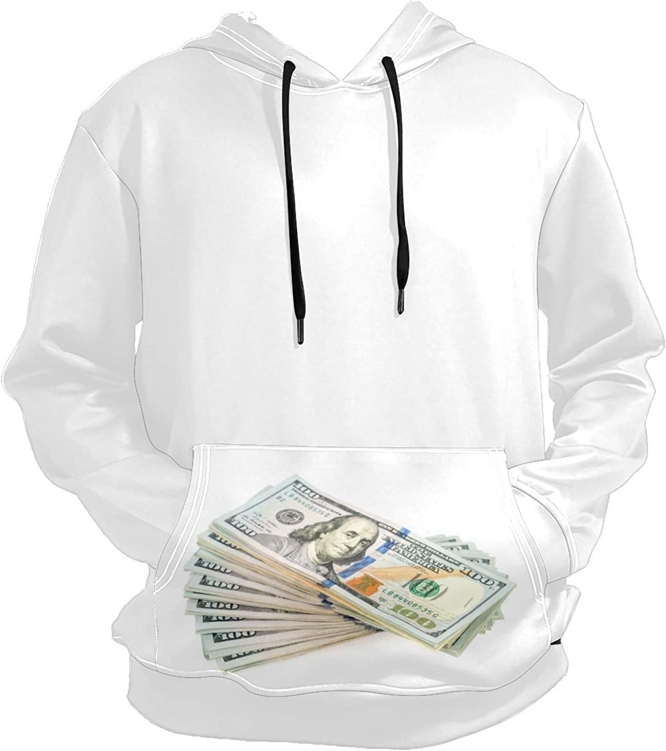 Hundred Dollars Banknotes Mens Sport Hoodie Big and Tall Hoodies for Men Women Oversized Hooded Sweatshirt Hip Hop Pullover Hoodie Midweight Hood for Boys Girls