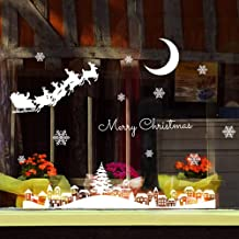 Christmas Snowflake Elk Moon Tree House Window Clings Reusable Door Wall Wardrobe Stickers Decal Winter Wonderland Xmas Theme Party Wedding Supplies Festival Birthday Celebration Decoration