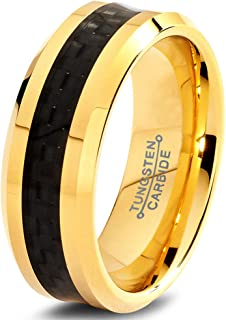 Charming Jewelers Tungsten Wedding Band Ring 8mm Men Women Comfort Fit Black Carbon Fiber 18K Rose Yellow Gold Plated Beve...