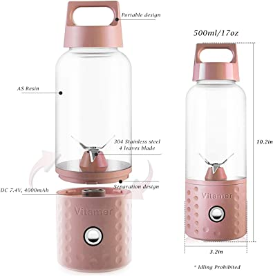 Portable Juice Blenders for Smoothie USB Rechargeable Mini Juicer Machines Extractor Household Fruit Mixer Small Cup 500ml Personal Travel Outdoors (Pink)