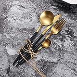Jsx Posate di lusso in Acciaio inossidabile 304, posate da 4 pezzi, Incluso un Set di cucchiai per coltelli da forchetta (Nero e dorato),Negro