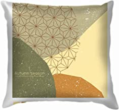 Autumn Poster Banner Greeting Card Template Cover Green Throw Pillows Covers Accent Home Sofa Cushion Cover Pillowcase Gift Decorative 22X22 Inch