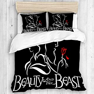 DAHALLAR Duvet Cover Set,Beauty and The Beast,Decorative 3 Piece Bedding Set with 2 Pillow Shams King Size