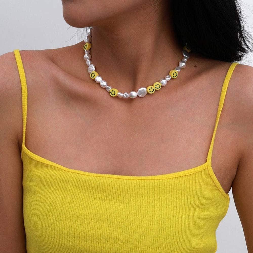 KURTCB Smiley Face Choker Necklace Irregular Pearl Cute Summer Y2K Collar for Teen Girls Women