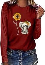 Aniywn T-Shirt, Women Sunflower Print Loose Round Neck Short/Long Sleeve Basic Blouse Tops