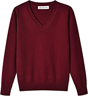 SMINLING Pinker Boys Sweater Pullover School Uniform V-Neck Soft Cotton Clothing