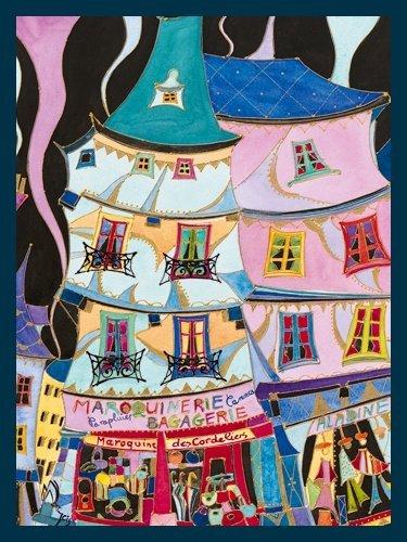 Bild mit Rahmen Martine Wentzeis - La maroquinerie - Digitaldruck - Holz blau, 60 x 79.8cm - Premiumqualität - Stadt, Gebäude, Häuser, Geschäfte, Lederwarengeschäft, Frankreich, fröhlich, .. - MADE IN GERMANY - ART-GALERIE-SHOPde