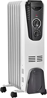 TANGKULA Electric Oil Heater, 1500W Home Office Bathroom Portable Adjustable Thermostat Radiant Heater with Wheels, Tip-ov...