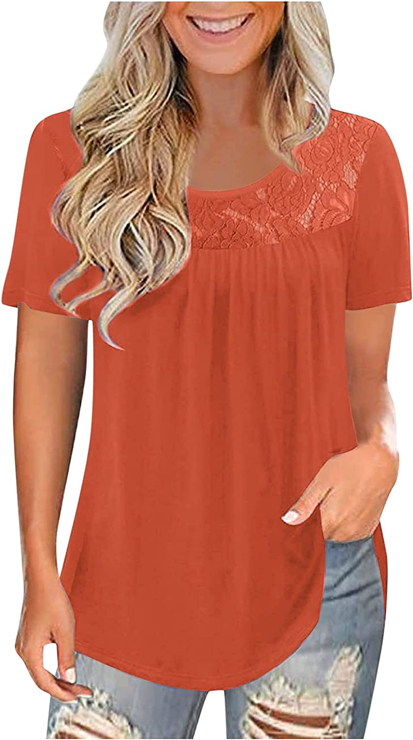 AODONG Short Sleeve Tops for Women, Women's Plus Size Summer Tops Lace Pleated Shirts Casual Loose Tees Blouses Tunics