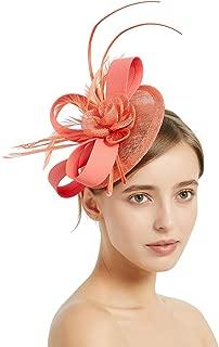 Bycc Bynn Women Vintage Fascinator Hats Wedding Sinamay Feather Headwear Kentucky Derby Hat
