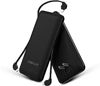 モバイルバッテリー 大容量(ACプラグ PSE認証済み 10000mAh 3ケーブル内蔵 1USBポート ライトニング/micro USB/type-cケーブル内蔵) スマホ 充電器 バッテリー 急速充電 軽量 薄型 コンセント 折畳プラグ 持ち運び便利 iphone/ipad/Android対応 黒