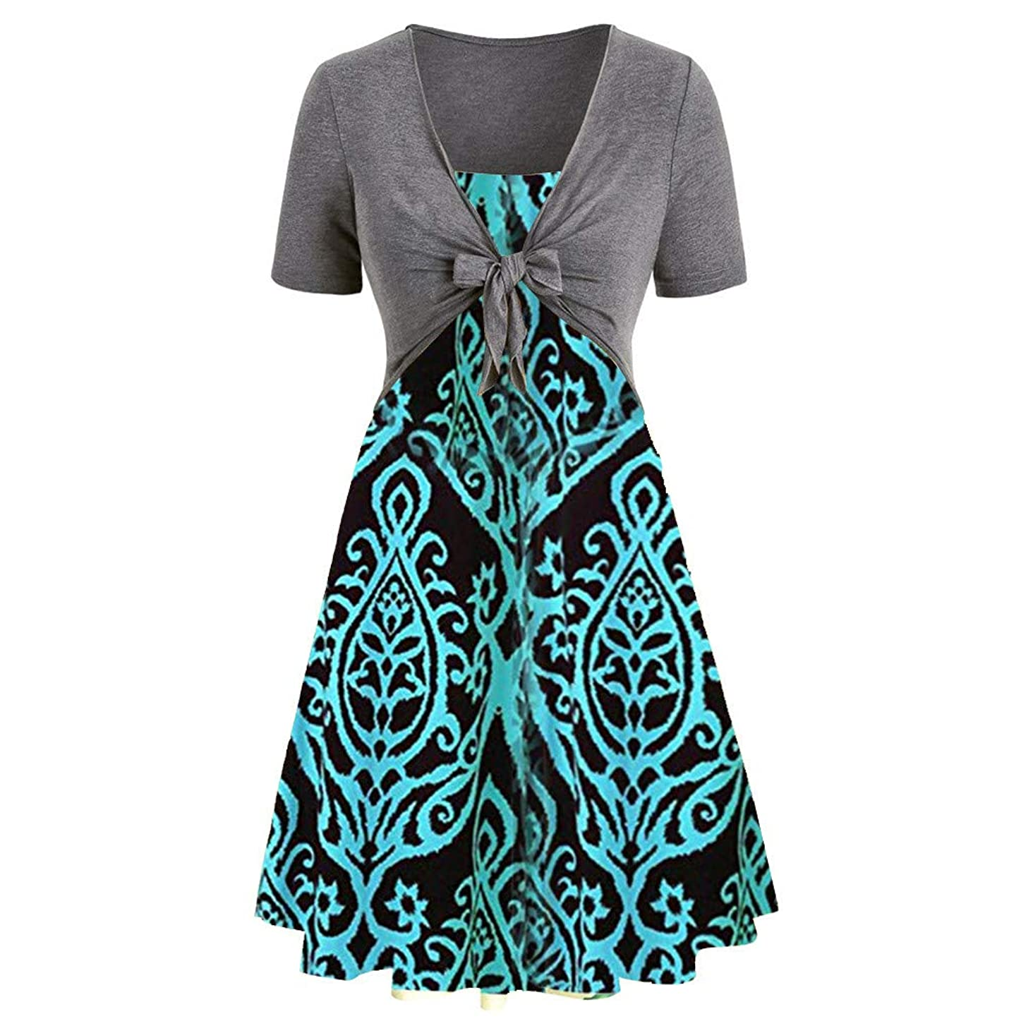 Daily Wear Dresses for Women,TIFENNY Lady Fashion Short Sleeve Front Criss Cross Top + Floral Print Mini Dress Suits