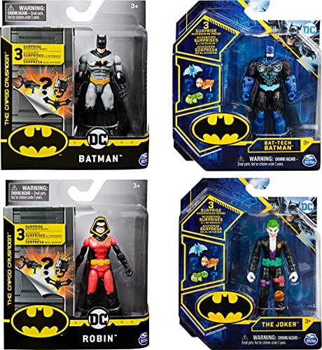 DC Comics Batman 10cm-Actionfigur mit Missionskarte und 3 geheimen Ausrüstungsteilen - unterschiedliche Varianten