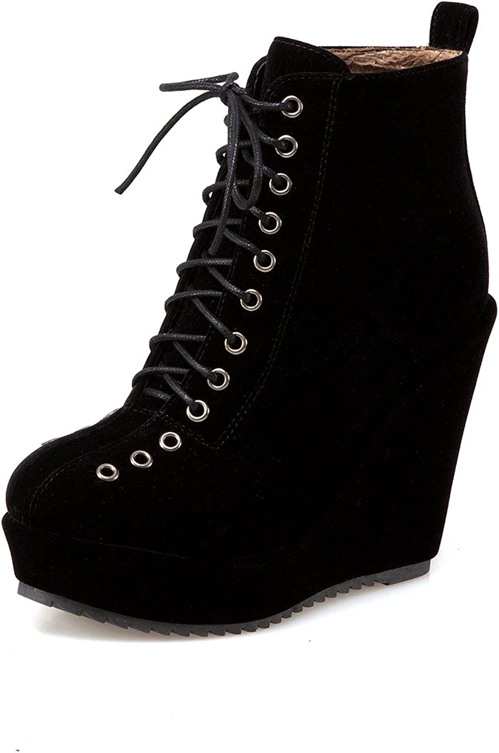 DoraTasia Cow Leather Nubuck Lace up Women's Wedge Boots