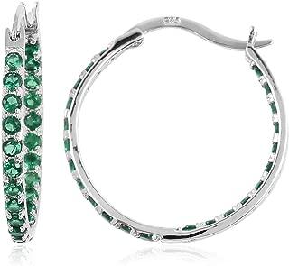 green stone hoop earrings