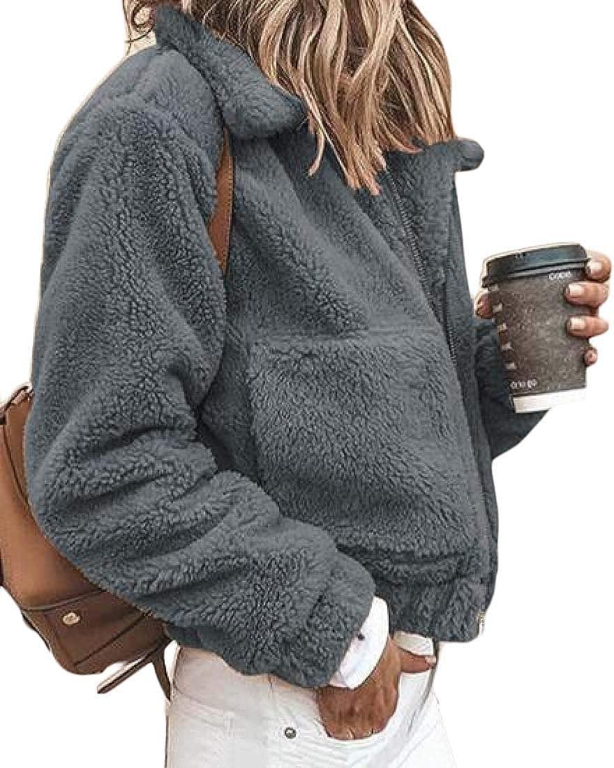 Yhsuk Womens Fall-Winter Zip Up Fleece Faux-Fur Solid Color Coat Jacket Outerwear