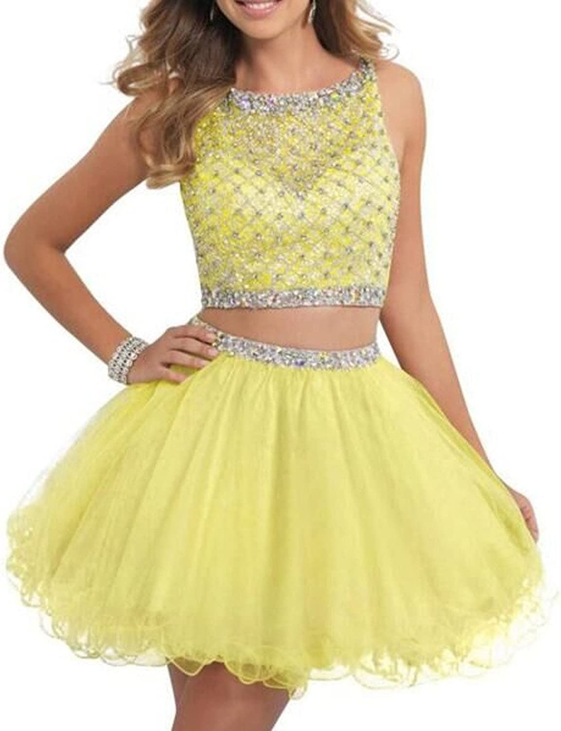 ANGELA Women's Beaded 2 Piece Homecoming Dress Mint Short Prom Party Gowns