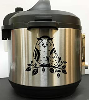 Owl Mommy And Baby Decal Sticker - Black Vinyl Decal Sticker for Instant Pot Instapot Pressure Cooker