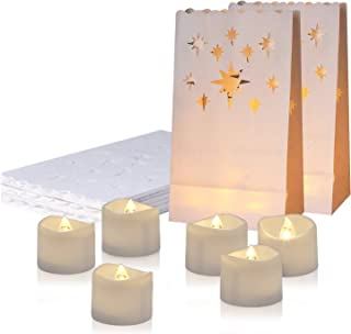 Homemory 24 Pack LED Tea Lights with 12 Pack Luminary Bags, Flameless Votive Tealights Candles with Warm White Flickering Light, Small Electric Tea Candles for Wedding, Party, Thanksgiving, Christmas