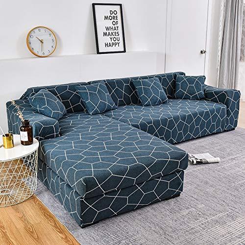 WXQY Patrón geométrico Fundas elásticas Funda de sofá elástica Funda de sofá de protección para Mascotas Esquina en Forma de L Funda de sofá Antideslizante A19 3 plazas