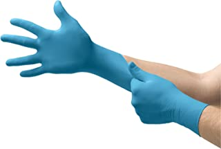 Ansell Touch n Tuff 92-675 Disposable Nitrile Gloves Chemical Protection, Latex-Free, Powder-Free Glove for Food Preparation, Mechanics or DIY Applications, Blue, Size Large, Box of 100 Units