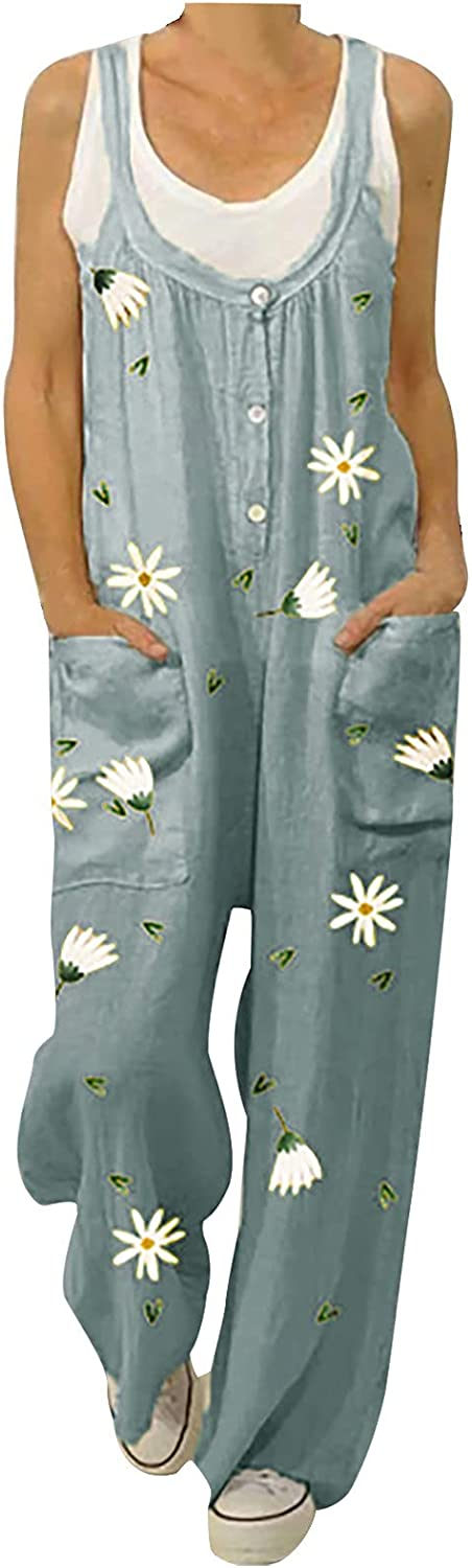 Womens Pants Overalls We OFFer at cheap prices Superlatite Rompers Daisy Printed Ju Buttons Suspender