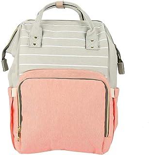 Bolsa de pañales multifuncional - Dewin Mochila de gran capacidad para mamá, resistente al agua y duradera, 6 tipos (Color : Pink Stripe)