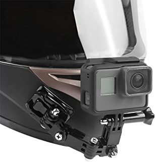GoPro Hero 7(2018)、6、5、Hero Black、セッション4、DJI Osmo ActionおよびXIaomi YI Action Cameraと互換性のあるスイベルマウントと粘着パッド付きのオートバイヘルメットチンマウントキット
