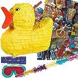 Pinata Set:  Ente  mit Maske + Schläger + 100-teiliger Süßigkeiten-Füllung von Carpeta© -...