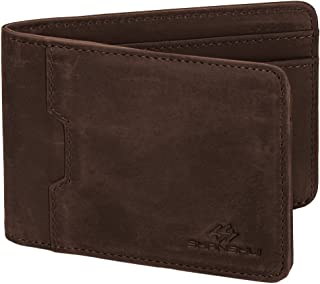 Bifold Wallet, SHANSHUI RFID Blocking Slim Purse Made from Primary Crazy Horse Leather Vintage Style for Men (Dark Brown)