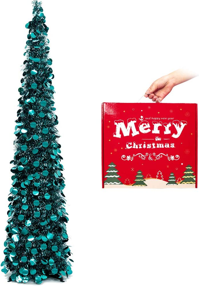 MACTING 5ft Pop up Japan Maker New Christmas Tinsel All items free shipping with Easy-Assembl Stand Tree