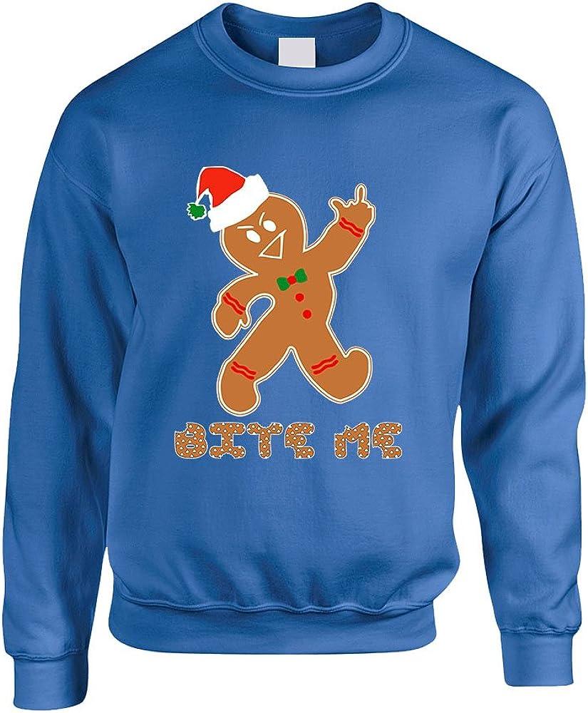 ALLNTRENDS Adult Sweatshirt Bite Me Gingerbread Ugly Christmas Funny Top (L, Royal Blue)
