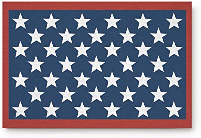 Olivefox Funny Waterproof Bathroom Doormat Home Decor Welcome Mat Entrance Way Indoor/Outdoor Carpet Toilet Floor Area Rugs, Red White and Blue Patriotic Flag Stars - 23.6x15.7 Inch