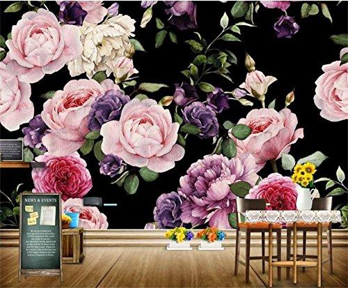 Yosot Papel pintado fotográfico 3D personalizado para sala de estar, pintado a mano, diseño de rosas en 3D, para sofá o televisión, fondo para paredes, 3D, 540 cm x 300 cm