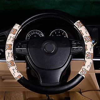 XiXiHao Cute Bears Steering Wheel Cover for Women (Beige Black)