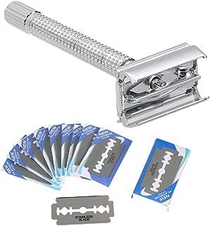 Double Edge Safety Razor Anself Manual Shaving Razor Traditional Razor With 20pcs Blades Men's Shaving Tool Set (01#)