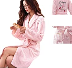 KKING Women's Long Flannel Flamingo Robe Plush Warm Dressing Gown Super Soft