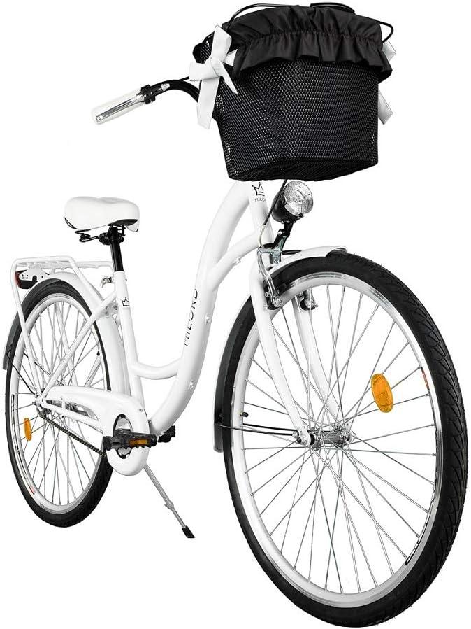 Milord. Komfort Fahrrad mit Korb, Hollandrad, Damenfahrrad, 1-Gang, Weiß, 28 Zoll