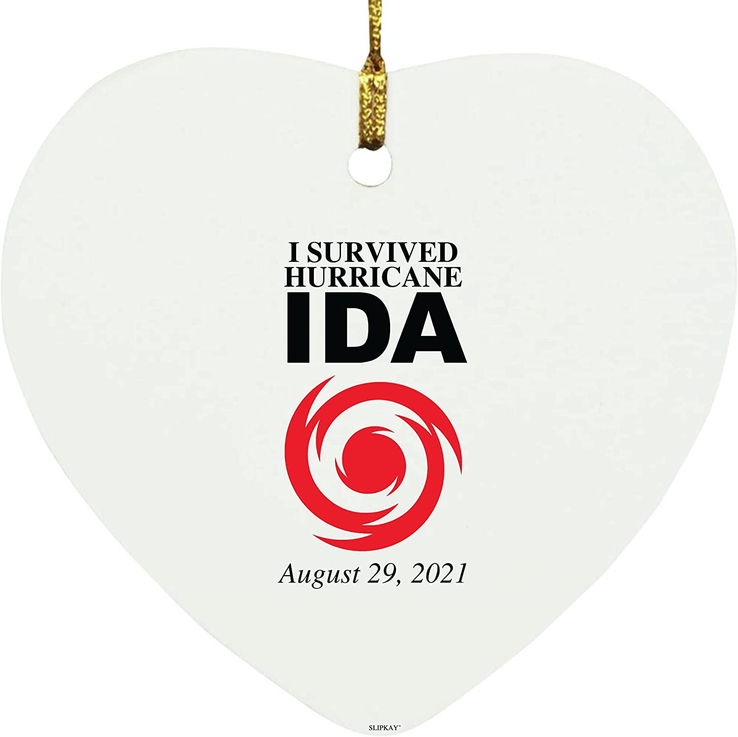 I Survive 2021 autumn and winter new Hurricane Ida August outlet Heart Ornament