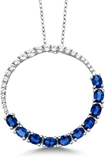 925 Sterling Silver Created Blue Sapphire Circle Pendant Necklace For Women (2.20 Cttw, 1 Inch With Complimentary Chain)