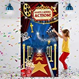 Sumind Hollywood Movie Theme Photography Backdrop Large Fabric Lights Hollywood Backdrop Movie Night Birthday Party Event Awards Night Ceremony Photo Photography Booth Background, 6 x 3 ft