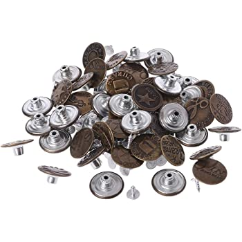 Healifty 40pcs Jeans Buttons Metal Button Snap Buttons Replacement Kit with Rivets Pant Craft Accessories Picture 1